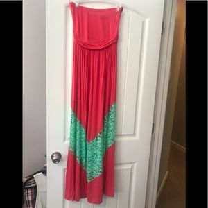 Coral and Teal Maxi